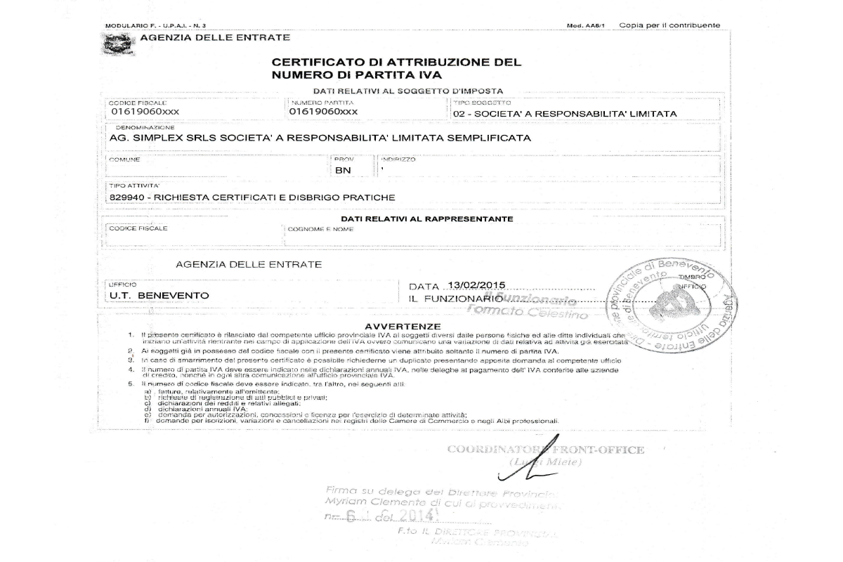Certificato Attribuzione Cessazione Partita Iva Agsimplex