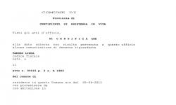 Certificato Esistenza in Vita